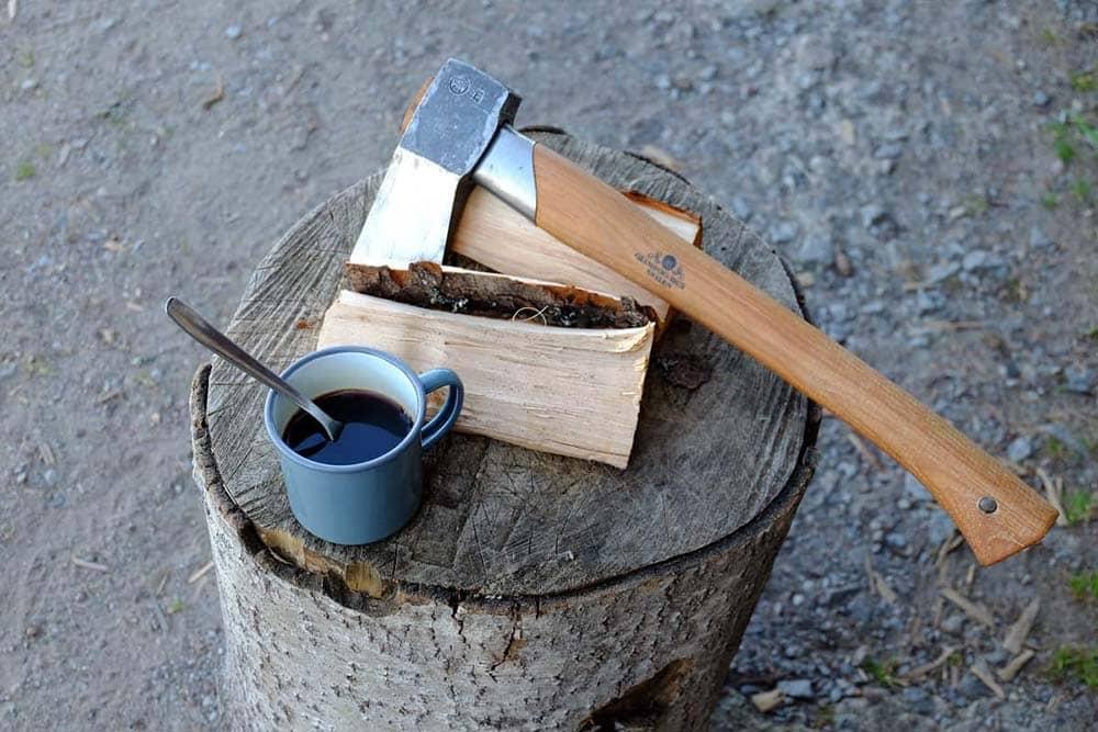 Wood log and coffee