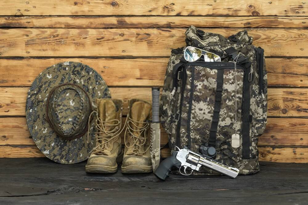 camo bag and hat