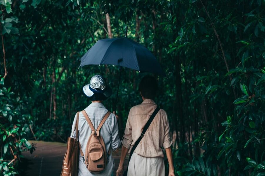 couple jungle rain