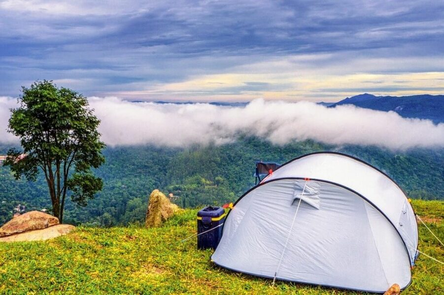 dome tent in the mountain