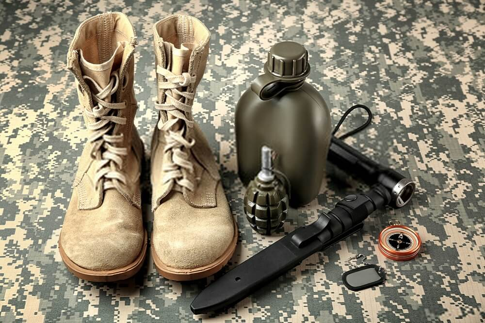 military boot and blade
